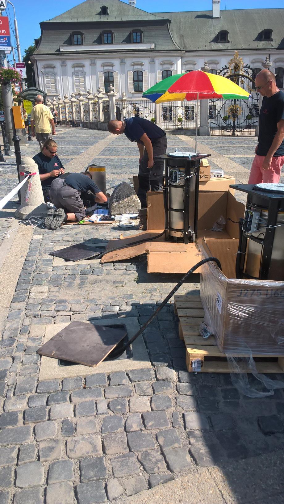 Instalace sloupů v Bratislavě